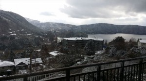箱根芦ノ湖の雪景色